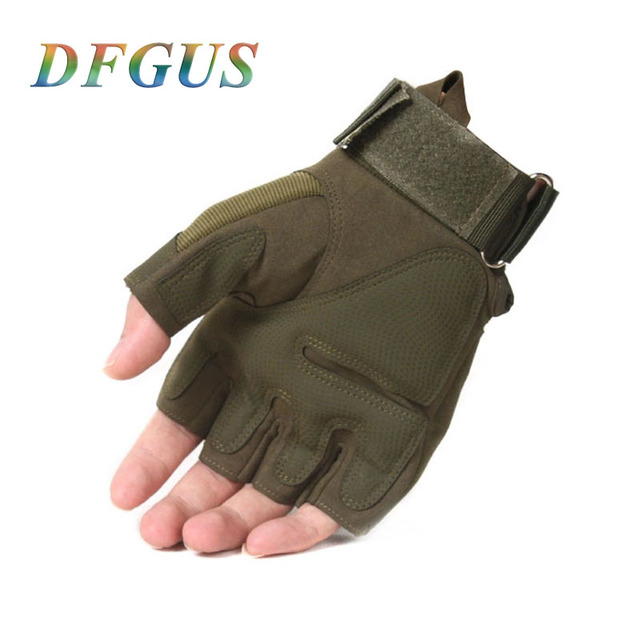 2018 Sale Us Army Men's Tactical Gloves Outdoor Sports Half Finger Military Combat Anti-Slip Carbon Fiber Shell Tactical Gloves 4