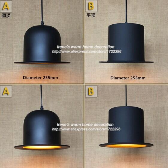 ФОТО 40W Retro Loft Style black formal hat Pendant Light Design For Living room Dining pendant light ,E27*1 Bulb Included