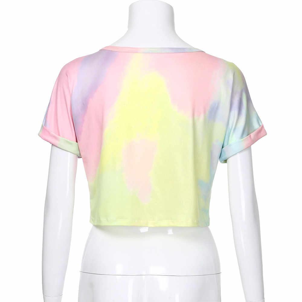 Camisa de manga curta das senhoras das senhoras das camisas de manga curta das senhoras do laço do corante xew