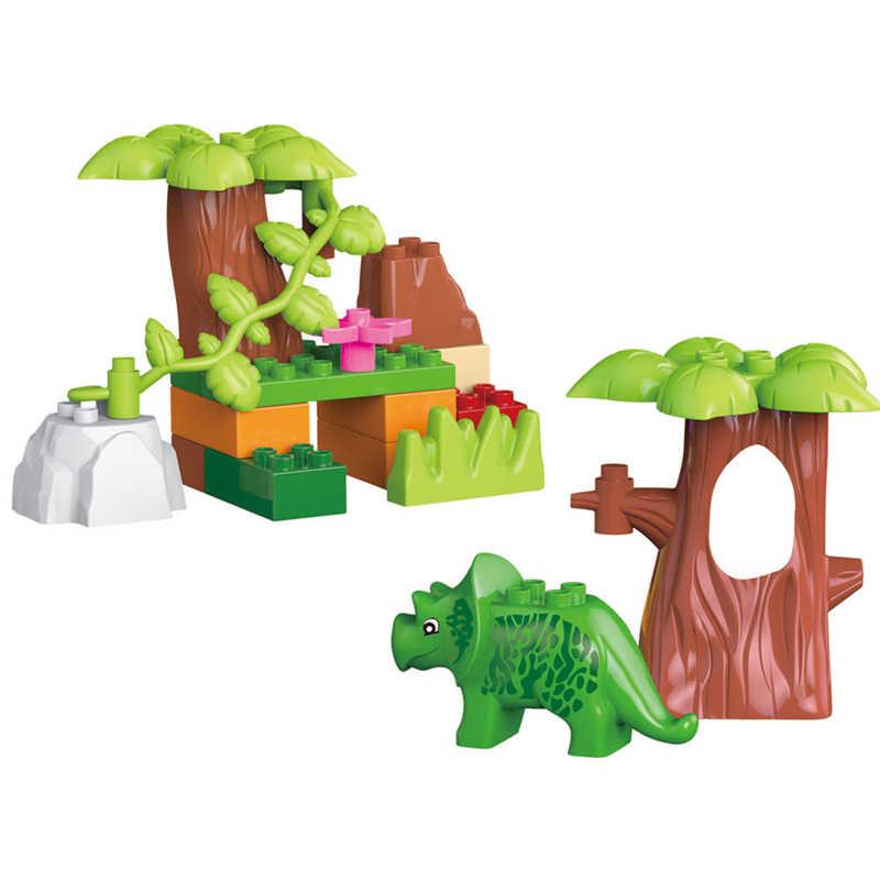 QWZ 40 шт. Юрский Мир динозавр долина строительные блоки большой размер динозавр животных совместимые части игрушек с LegoeINGly Duplos