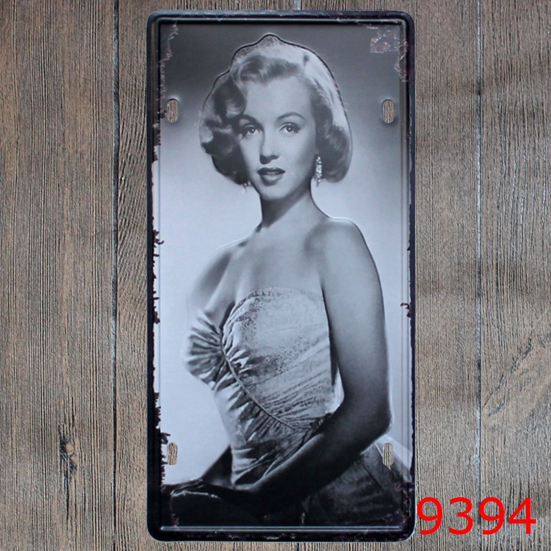 Car number  Sexy beauty Marilyn Monroe  License Plates plate Vintage Metal tin sign Wall art craft painting 15x30cm
