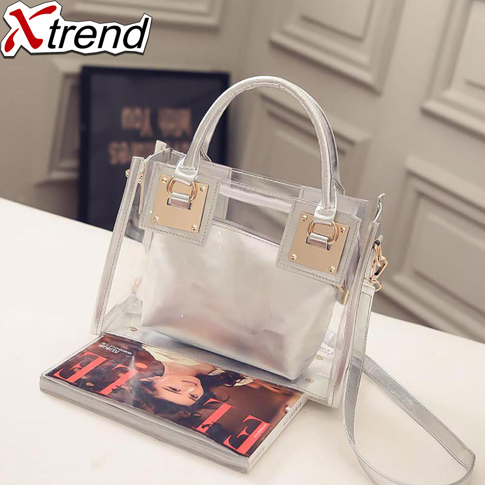 Hot Sale Popular Transparent Bag Women Handbag Plastic Waterproof Female Shoulder Bags Silver Color Beach Bags Ladies Handbags