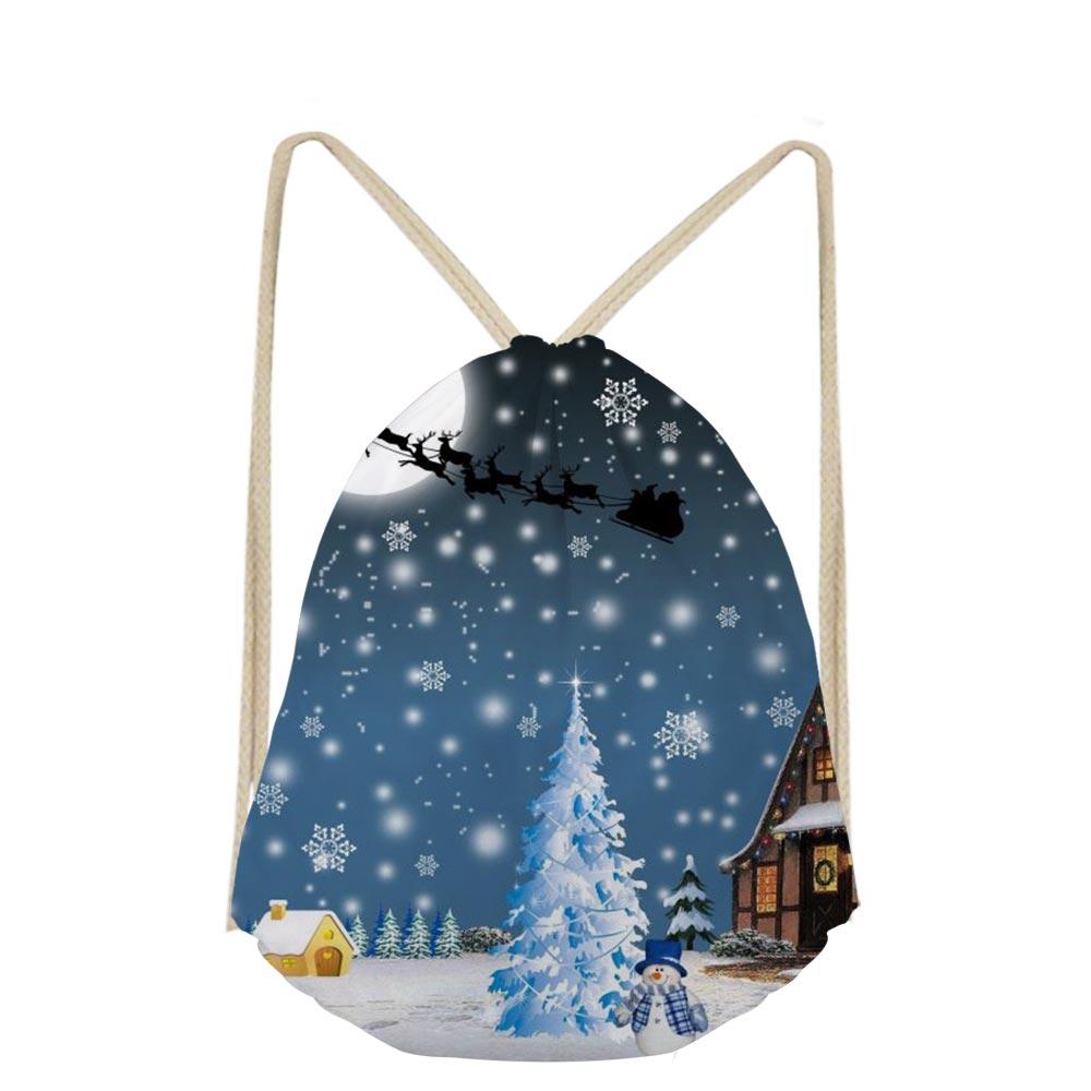 3D Cartoon Merry Christmas Print Mochilas Escolar Shoe Pocket Drawstring Bag New Shopper Boys Girls School