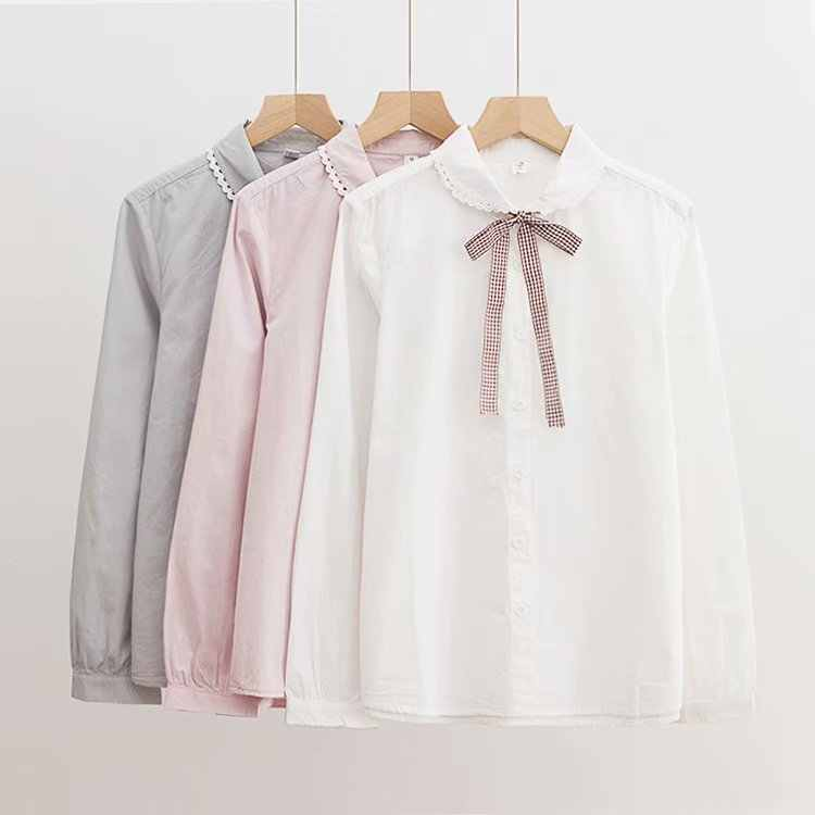 9f345ddf1 KYQIAO Lolita shirt Japanese school uniform 2019 mori girls autumn spring  Japanese preppy style cute white