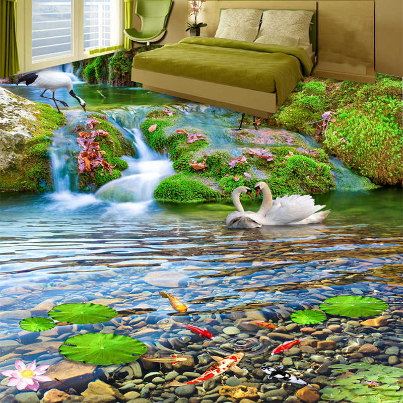 Custom Mural Wallpaper 3D Waterfalls Red-crowned Crane Goldfish Landscape 3D Floor Tiles Painting Sticker PVC Waterproof Fresco