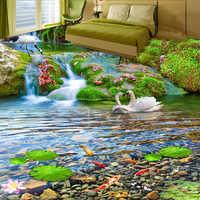 Custom Mural Wallpaper 3D Waterfalls Red-crowned Crane Goldfish Landscape 3D Floor Tiles Painting Sticker PVC Waterproof Fresco