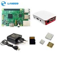 3 Raspberry Pi Modelo B/pi caso 3/fonte de alimentação Europeia/16G Cartão SD/calor pia