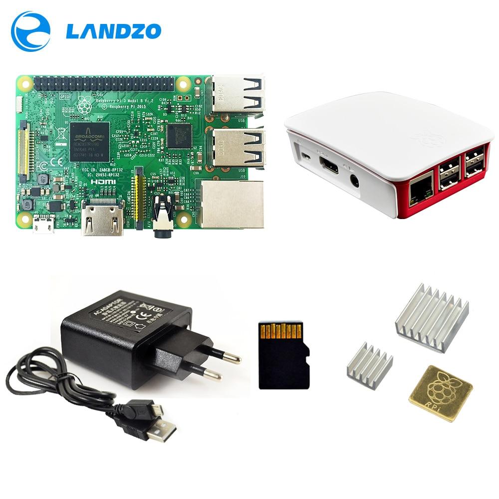 Raspberry Pi 3 Модель B/pi 3 Чехол/Европейский источника питания/16 г SD Card/теплоотвод