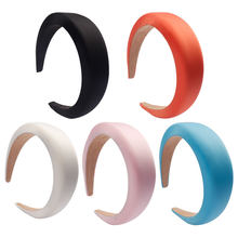 Xugar Hair Accessories Satin Headband for Women Solid Color Plastic Hair Hoop Girls Sponge Hairbands Hair Band(China)