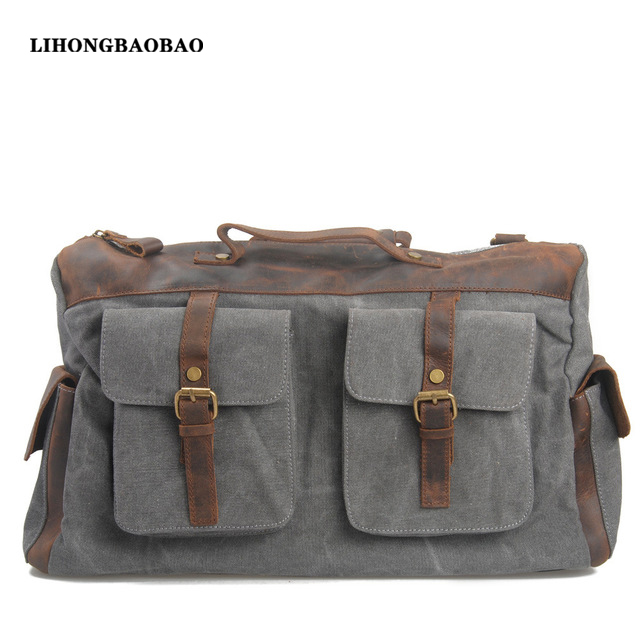 c524a33ea041 Fashion Canvas Leather Travel Bag With Pockets for Men Casual Military Totes  Bags Outdoor Sport Duffel Bolas Man Weekend Bags-in Travel Bags from  Luggage ...