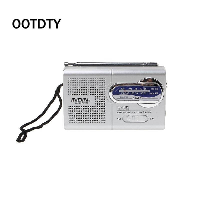BC R119 Portable Mini Radio 2 Band AM FM World Receiver Retractable Antenna DC 3V