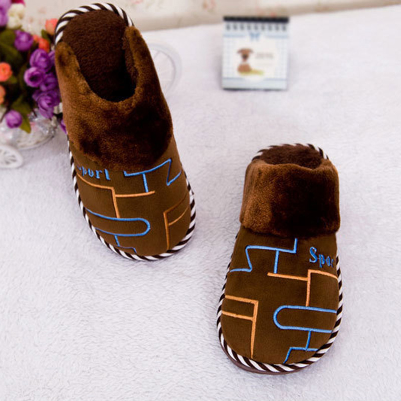 Santoffel Nuevos Algodón Rayado Caliente Flops blue Hombre 2018 Moda gray Interior Desgaste De Zapatillas Piel Hombres Grande No207 Brown Antideslizante Invierno Flip aqEBEZw