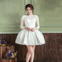 2018 New White/Ivory Short Wedding Dresses The Brides Sexy Lace Wedding Dress Bridal Gown Vestido De Noiva Real Sample