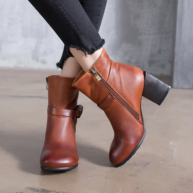 81087f3e20fb 2018 VALLU Handmade Vintage Shoes Women Boots High Heels Round Toes Buckle  Side Zipper Genuine Leather Ladies Ankle Boots