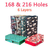 168&216 Holes 6 Layers Cute Pencil Case Oxford Large Capacity For Storage Pencil Pen Marker Pen School Stationery Art Supplies