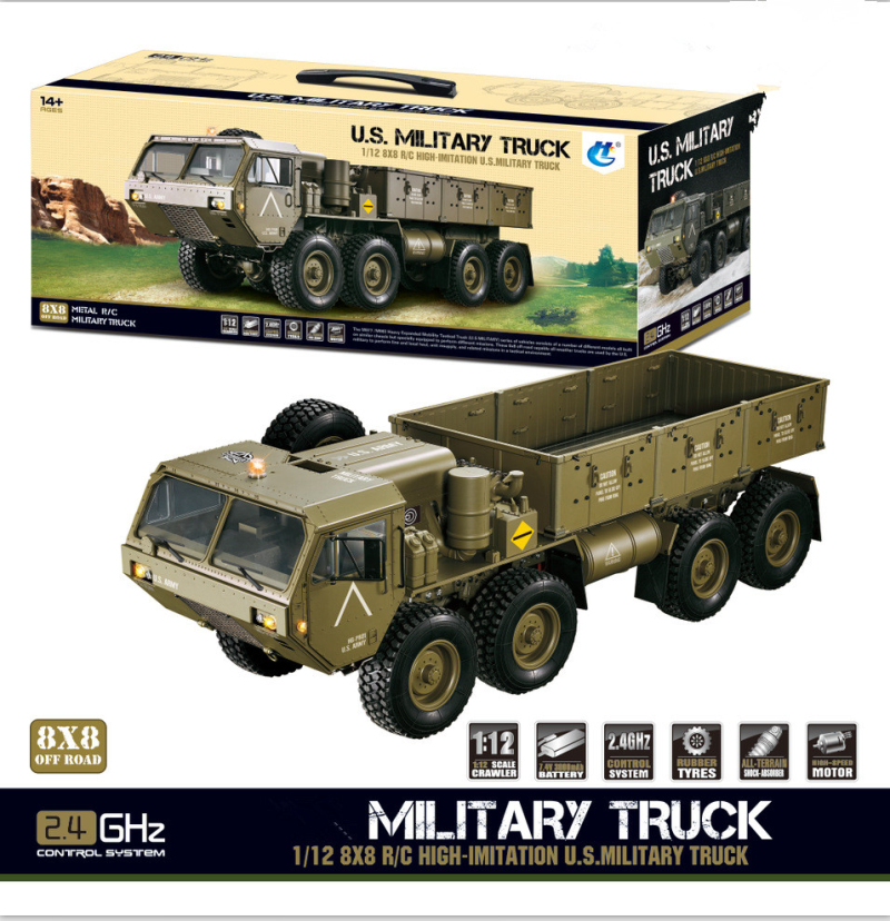 Profesional Large Electric RC Truck Model 1:12 2.4G 8WD 74CM Remote Control RC US Military Truck Emulation Off-Road Truck ModelProfesional Large Electric RC Truck Model 1:12 2.4G 8WD 74CM Remote Control RC US Military Truck Emulation Off-Road Truck Model