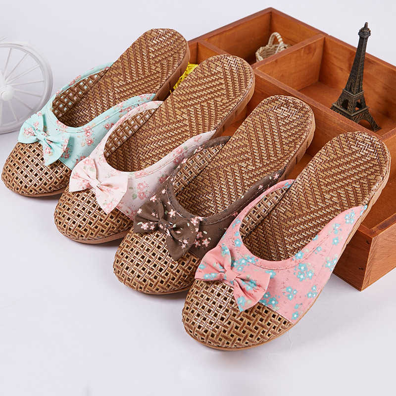Zapatillas de casa de mimbre de bambú Natural Mntrerm, novedad de verano, pantuflas planas de lana de caña de lino para mujer, zapatos de Casa de flores con lazo bonito