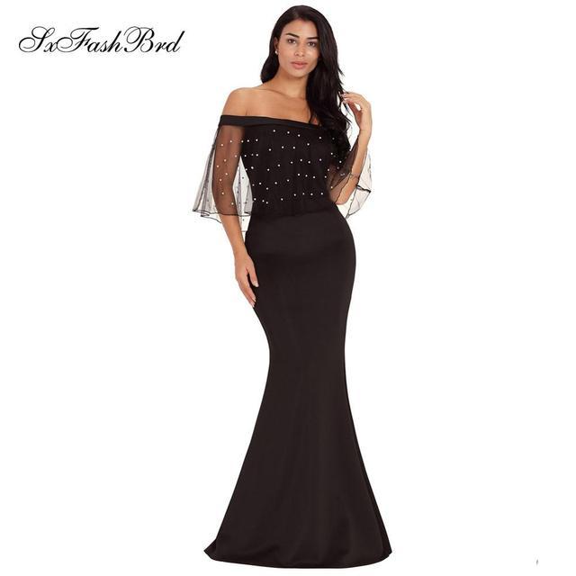 17dda9929fba € 53.46  Vestido De fiesta De cuello barco con cristales Bling sirena satén  largo Formal para mujer elegante vestidos De noche Vestido De ...