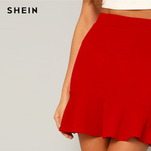 SHEIN Red Bright Flounce Ruffle Hem Solid Above Knee Skirt Womens 2019 Summer High Waist High Street Sheath Mini Skirt