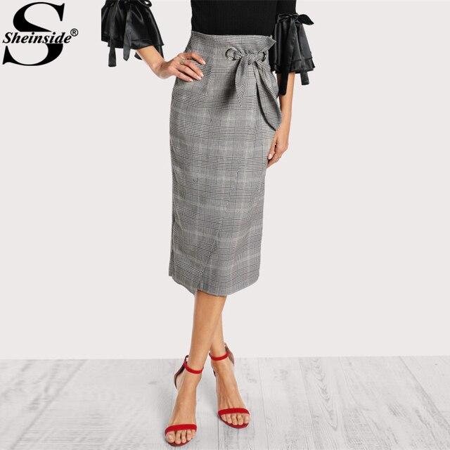 Sheinside люверсами лук галстук серый в клетку Обёрточная бумага юбка 2017 Элегантный Работа середины талии полной длины юбка с застежкой на молнию, поясом