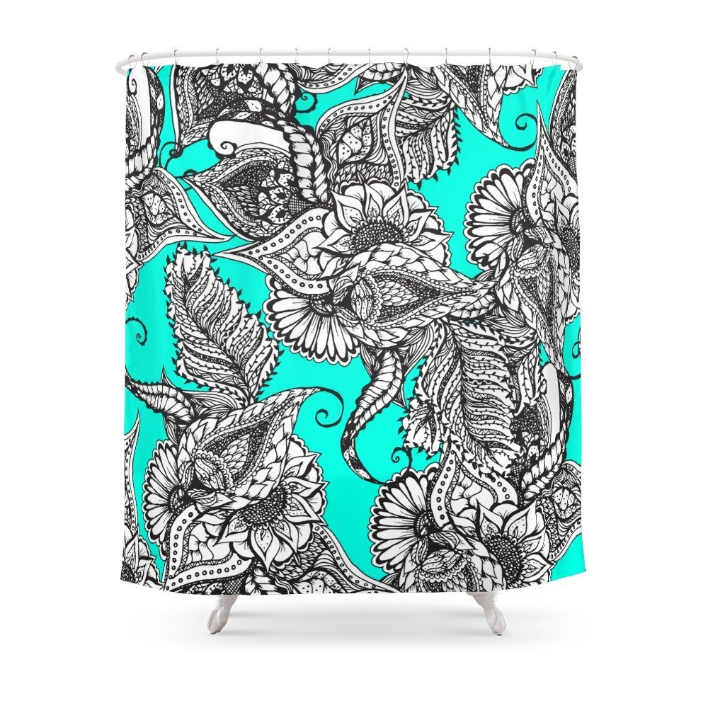 Boho Black White Hand Drawn Floral Doodles Pattern Turquoise Shower Curtain In Curtains From Home Garden On Aliexpress