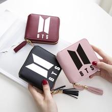 BTS 2018 nieuwe stijl vrouwen portefeuilles korte rits kaart portemonnee vrouwen portefeuilles en portemonnees Mini Tassen Bangtan jongens kwastje broekzak
