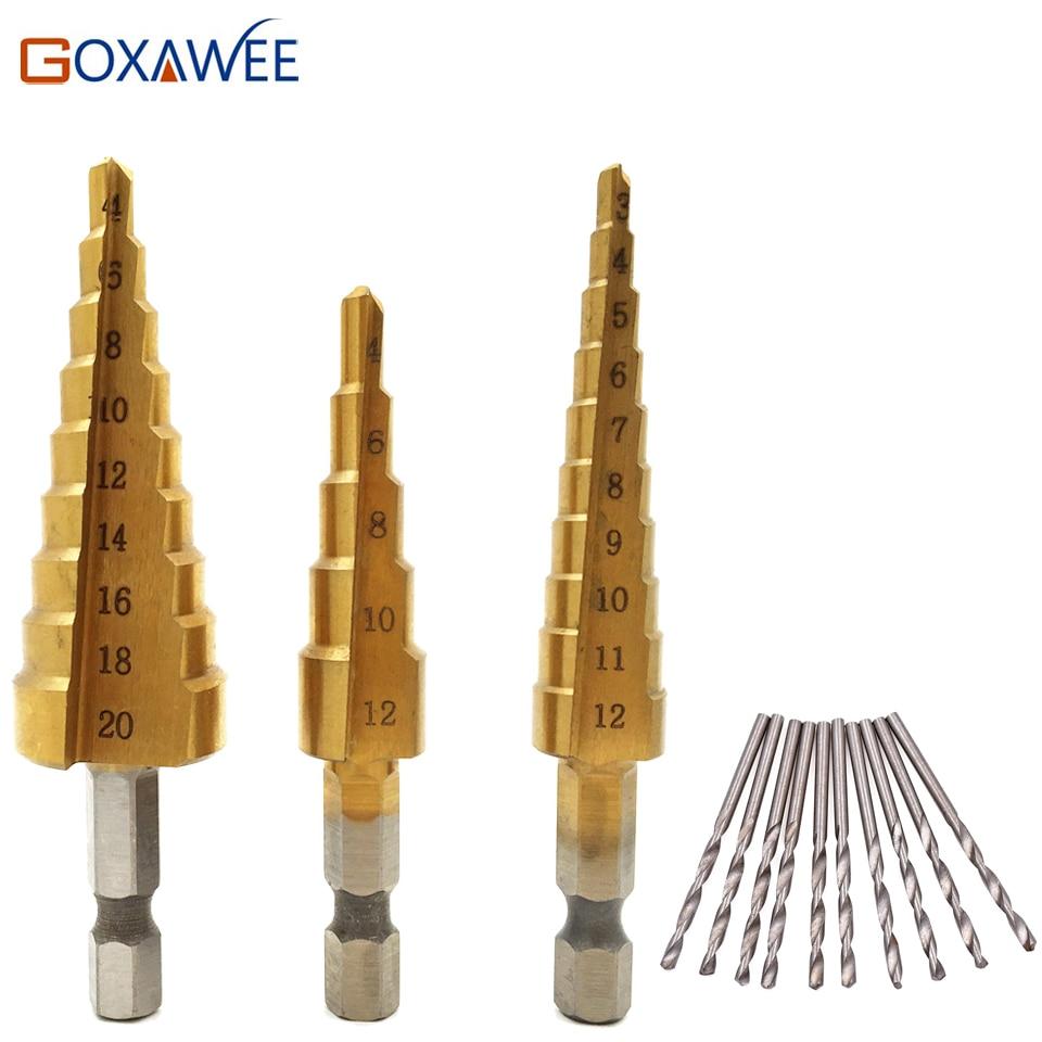 3 pz Hss Passo Cono Punte da Trapano Cono 3-12mm 4-12mm 4-20mm Power Tools 1/4