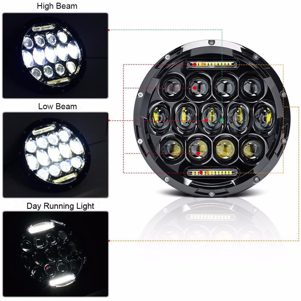 2018 newest 7Inch Round LED Headlight 7 Daymaker Projector Headlamp For Jeep Wrangler Hummer lada niva 4x4 Truck Suzuki Samurai