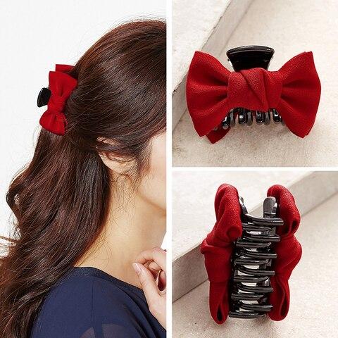 Химера винтажные Когти для волос красная ткань бант Акриловые