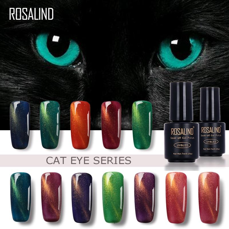 Розалинд 7 мл черная бутылка 3D кошка Средства ухода для век магнит Гели для ногтей Польский эффект c01-30 УФ светодиодный гель Лаки для ногтей с Косметическая пудра Глиттер дизайн ногтей