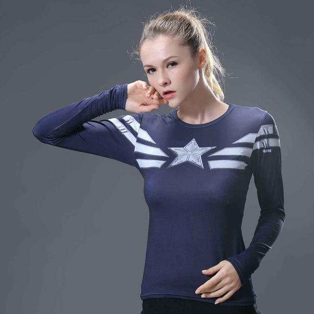 f4361c2604f Women T-shirt Bodys Marvel costume superman/batman T Shirt Long Sleeve Girl  Fitness Tights Compression t shirts