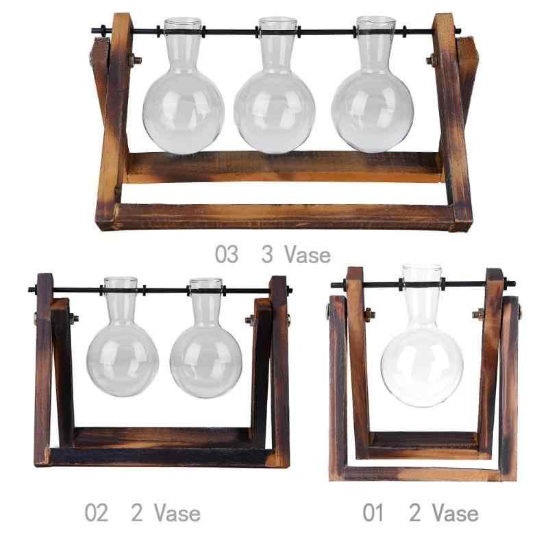 Vaso de vidro e madeira plantador terrário mesa desktop planta hidropônica bonsai potes pendurados com bandeja de madeira decoração para casa