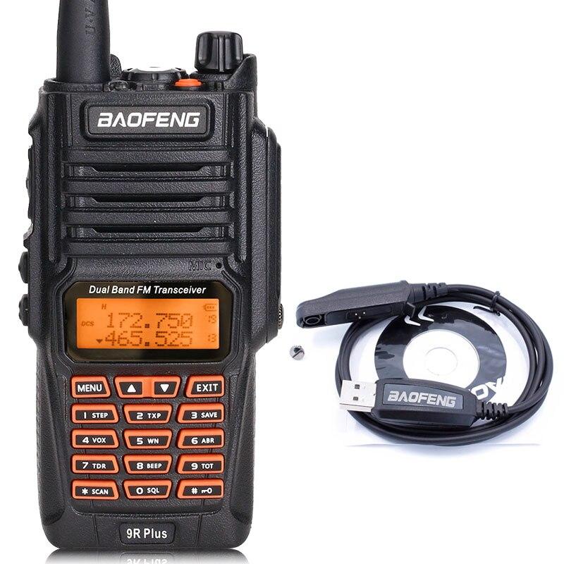 BaoFeng UV-9R Plus Водонепроницаемая портативная рация 8 Вт UHF VHF Двухдиапазонный IP67 HF трансивер UV 9R Ham портативное радио - Цвет: add usb cable