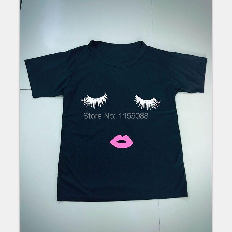 10pcs/lot Fashion Hot Selling Summer Women's Casual T-Shirt tshirt Eyelashes Lip print Loose Tees woman Shirts