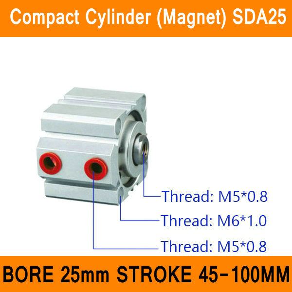 цены SDA25 Cylinder Magnet SDA Series Bore 25mm Stroke 45-100mm Compact Air Cylinders Dual Action Air Pneumatic Cylinders ISO