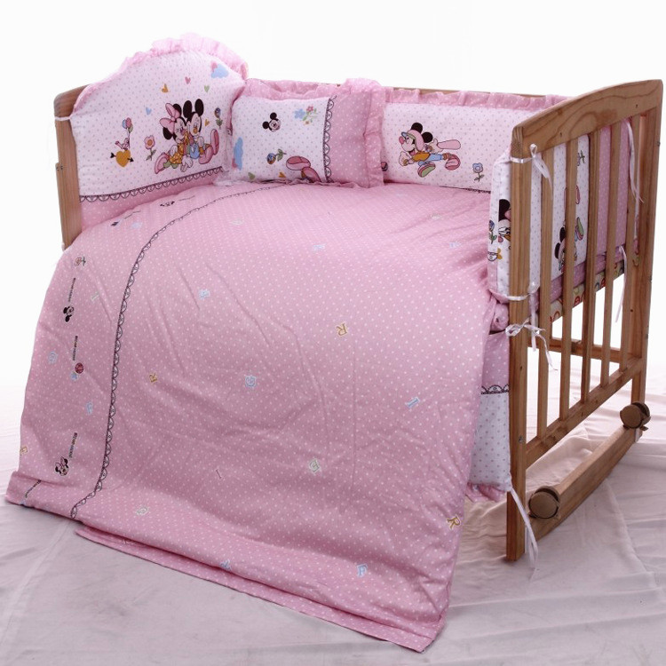 Promotion! 7pcs Cartoon Baby crib bedding set 100% cotton crib bumper (bumper+duvet+matress+pillow)