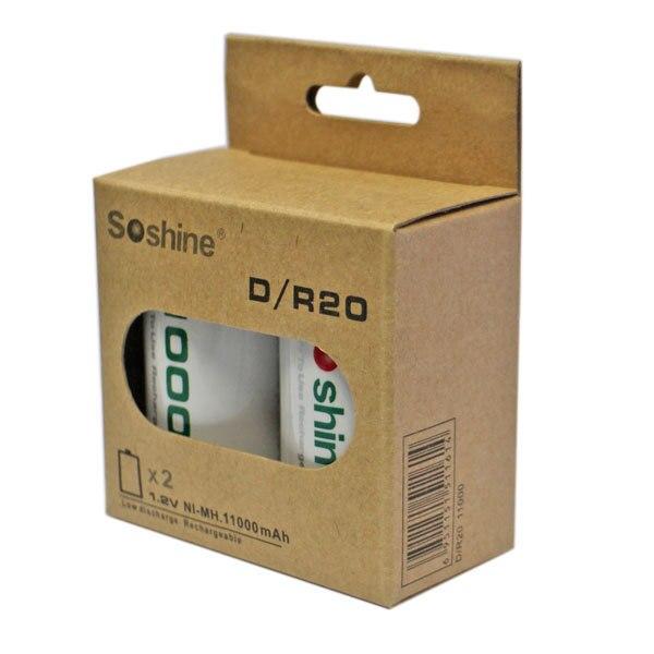 Soshine 2 PCS D/R20 Taille RTU D11000 Rechargeable Batterie NiMH 11000 mAh 1.2 V Batterie un Courant Plus Élevé Capacités batterie