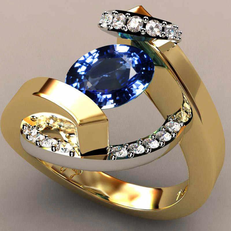 Vintage ชายหญิงคริสตัลสีฟ้าแหวนหินสีแดงหรูหรา Silver Gold แหวนสัญญาหมั้นแหวนผู้ชายและผู้หญิง