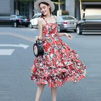 2017 Spring Rose Printing Women Slim Ball Gown Dress Elegant Spaghetti Strap Ruffled Ukraine Dresses Folding