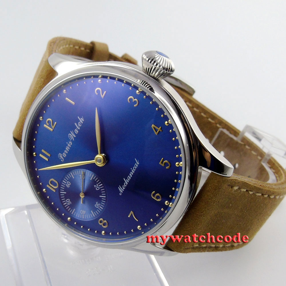 44mm parnis blue dial 6497 movement leather hand winding mens watch P395 42mm parnis pink dial gmt moon phase hand winding movement mens watch pa061