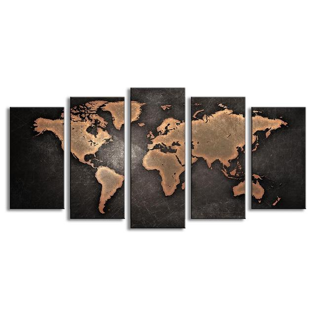 Vintage World Map Art.Monica 5 Pcs Set Modern Abstract Wall Art Painting Vintage World Map