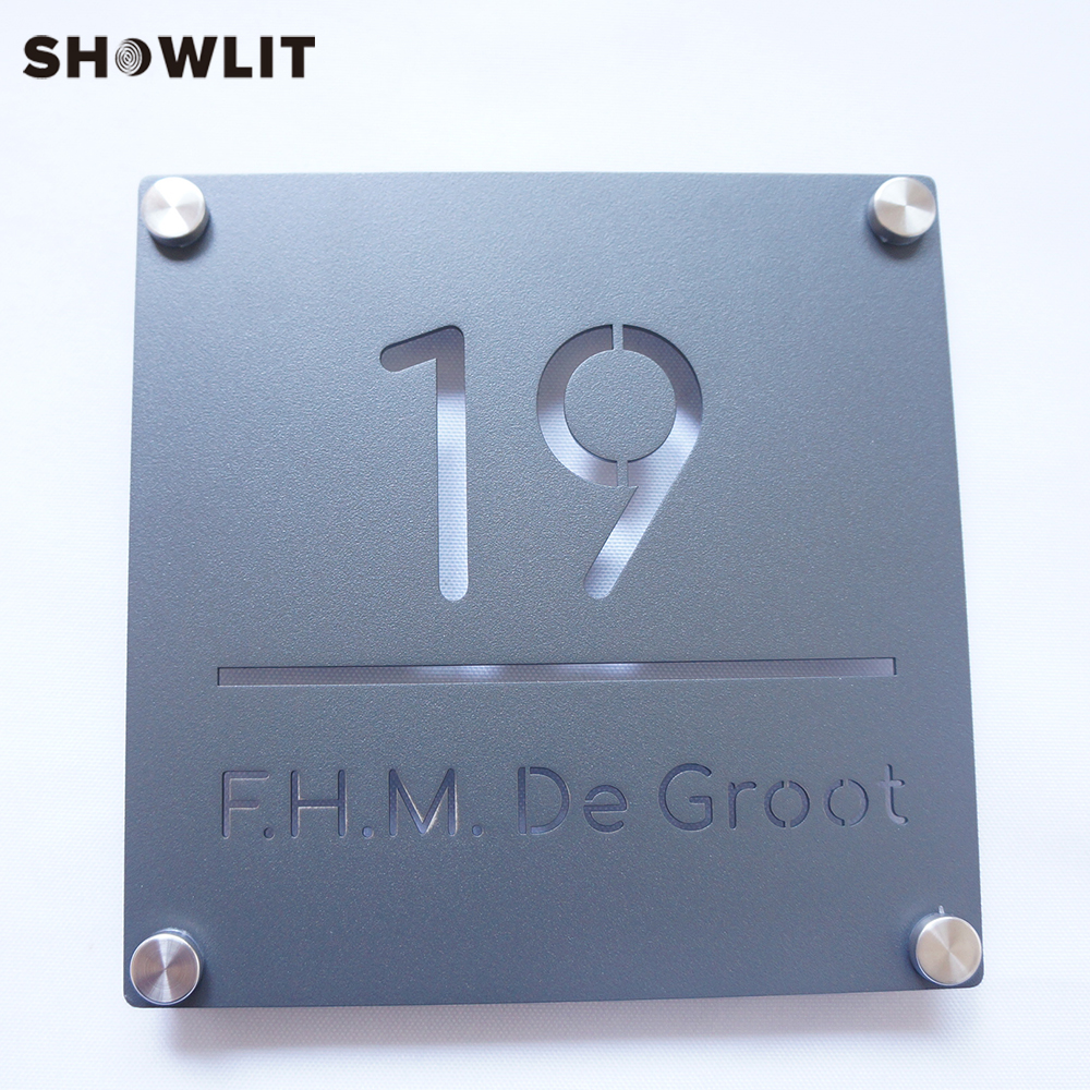 Outside House Number Plate With Family Name Powder Coated Grey Color Name Door Plaques Custom Made
