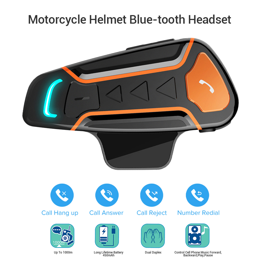 Waterproof BT-S61000m Bluetooth Interphone Handsfree Motorcycle Intercom Helmet Headsets Wireless Music FM MP3