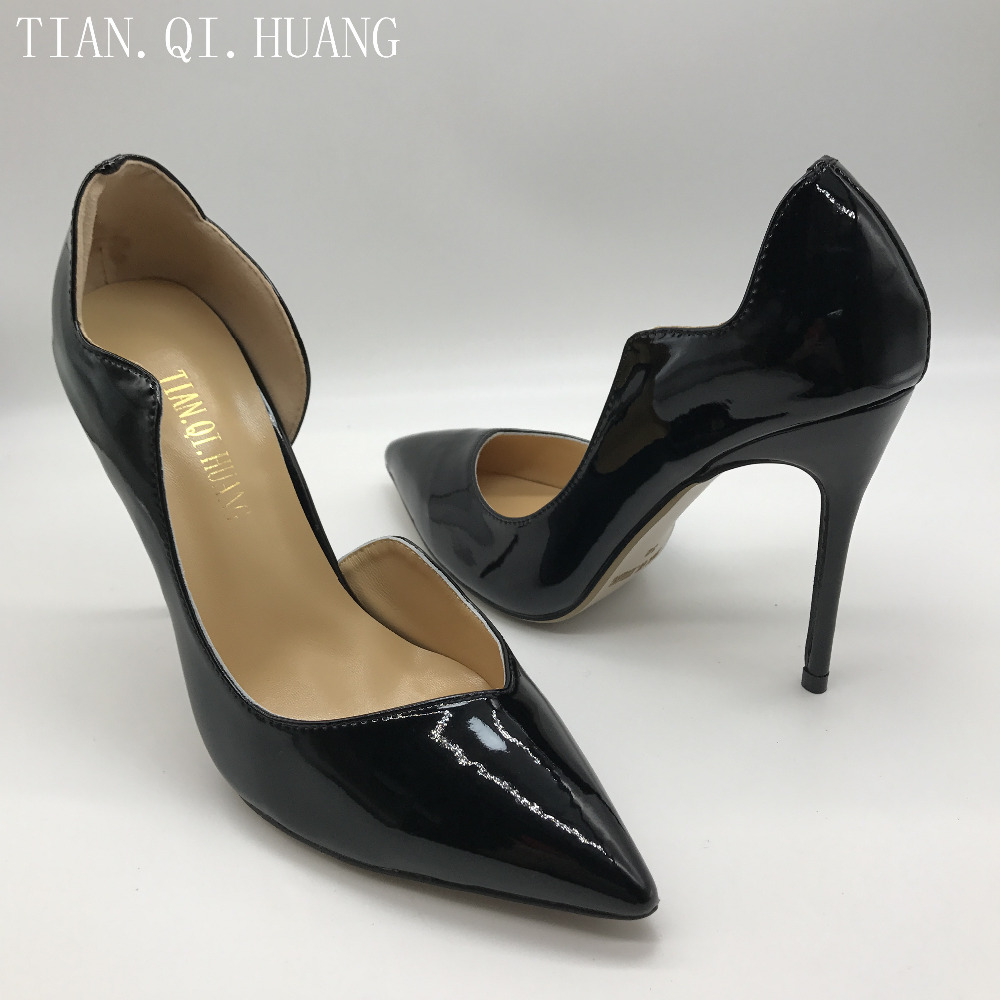 New Woman High Heels Pumps Wedding Bridal Shoes Black Heels Women Shoes High Heels Women Pumps Genuine leather TIAN.QI.HUANG 1
