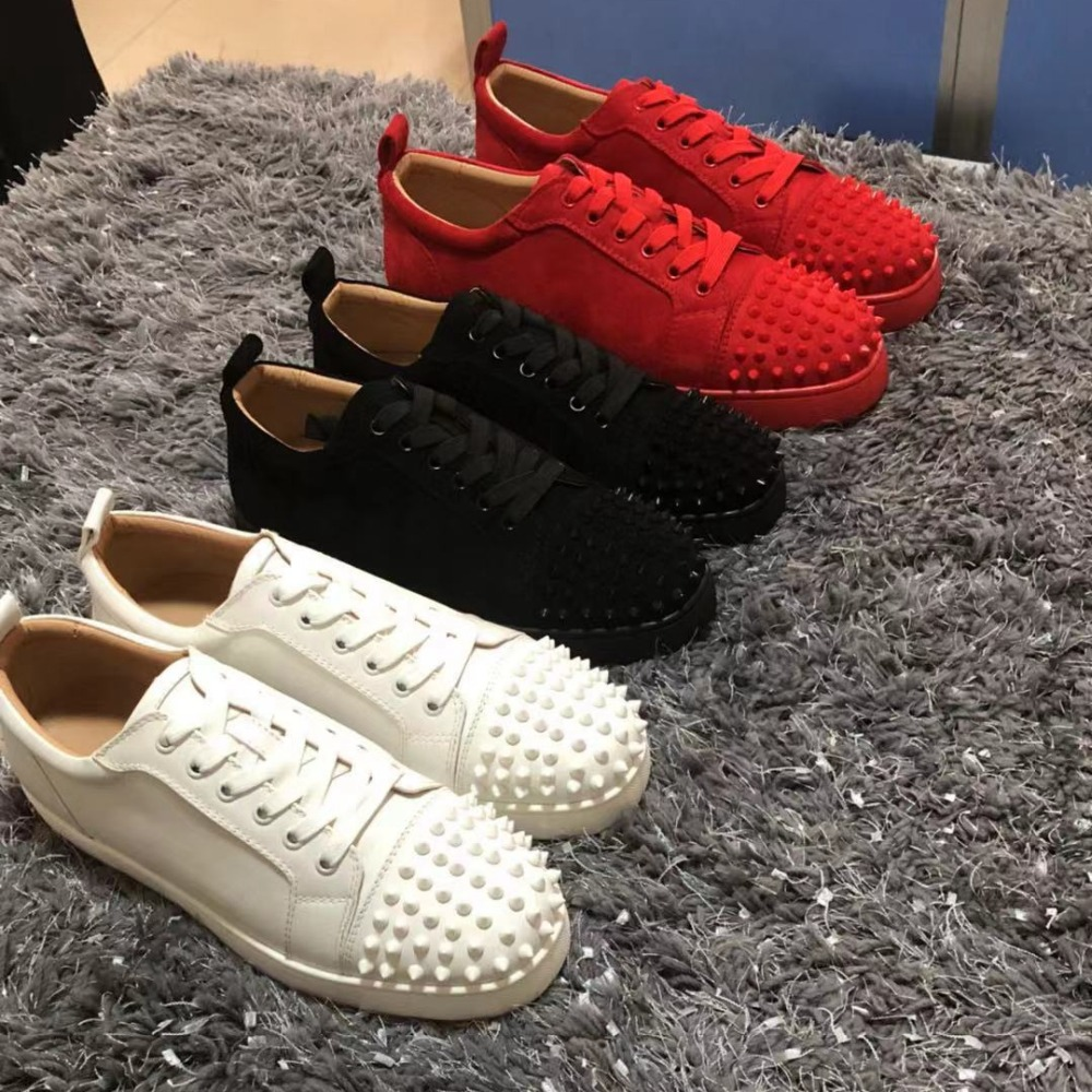 premium selection c5bf1 77e16 US $146.58 |clandgz Men Black White Red Lace up Shoe High Luxury quality  Red bottom shoes Sneakers Leather Loafers 2018 Male Footwear Spring-in  Men's ...