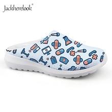 купить Jackherelook 2019 Women Summer Mesh Sandals Platform Female Nurse Medicine Print Breathable Slippers Loafers Ladies Beach Shoes дешево