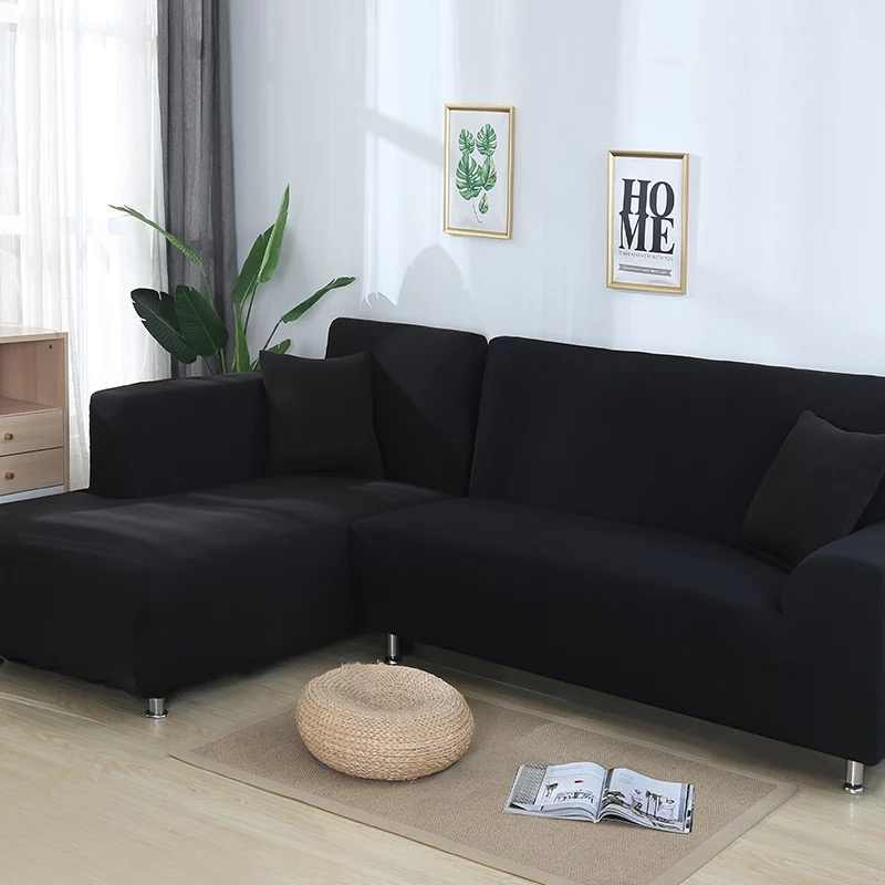安い 2 個 L 字型のソファ、リビングソファカバー用カバー断面長椅子は Longue ソファ本のカバーストレッチ弾性