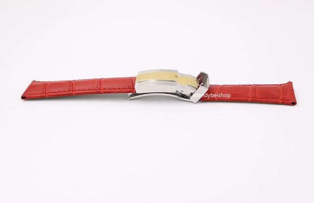 20mm Hombres Mujer Ternero piel de Vaca Real de Cuero Rojo de Lujo de LA VENDIMIA Reloj de pulsera Banda de Acero Correa de la Correa de Plata con Oro Medio cierre
