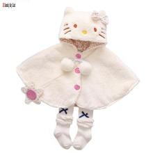 autumn winter thicken warm baby girls coats cartoon hooded solid cloak clothes children outerwear