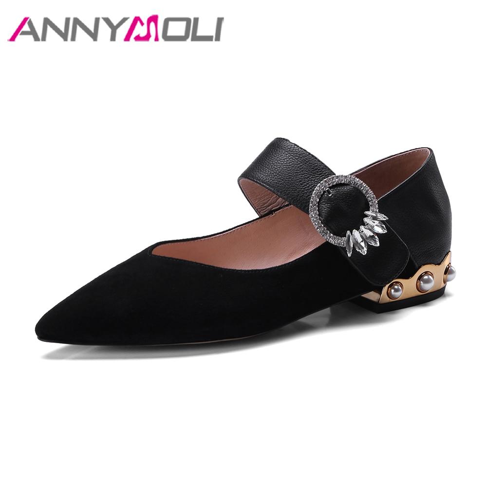 ANNYMOLI Натуральная кожа Женская обувь Мэри Джейн Кристалл обувь балетки Пряжка дамы обувь лодка черный 2018 Весна Размер 34-39
